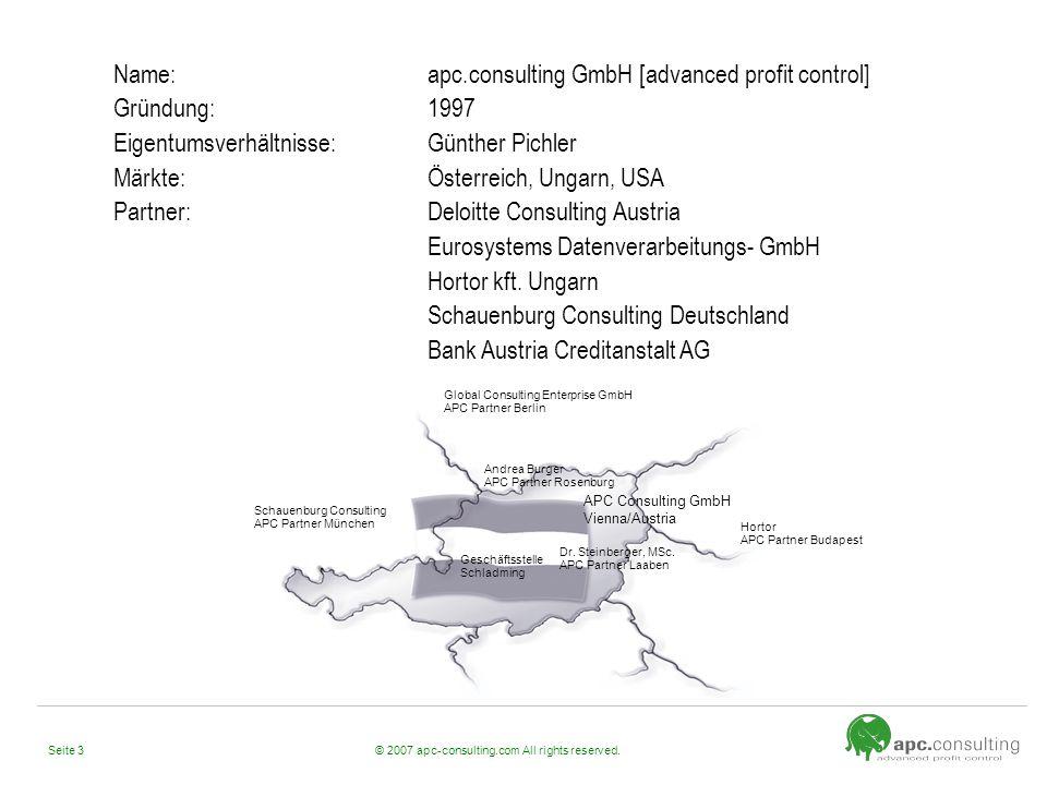 Name: apc.consulting GmbH [advanced profit control] Gründung: 1997